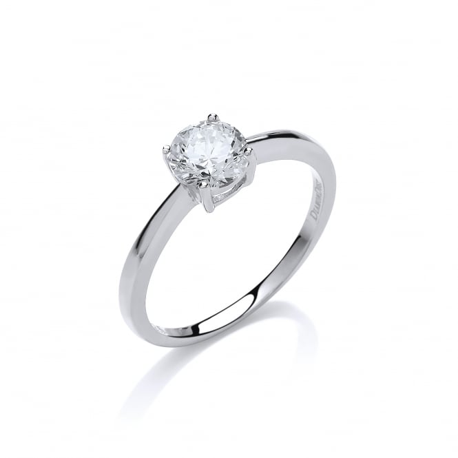 DiamonDust Jewellery Sterling Silver 6mm Round Stone Claw Set Ring Created with Swarovski® Zirconia