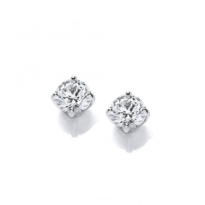 DiamonDust Jewellery Sterling Silver 6mm Solitaire Claw Set Studs Created with Swarovski® Zirconia