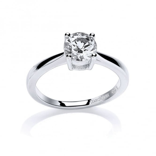 DiamonDust Jewellery Sterling Silver 7mm Round Stone Claw Set Ring Created with Swarovski® Zirconia