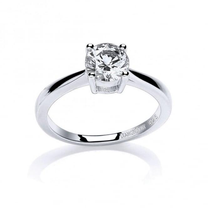 DiamonDust Jewellery Sterling Silver 7mm Round Stone Claw Set Ring Made with Swarovski Zirconia
