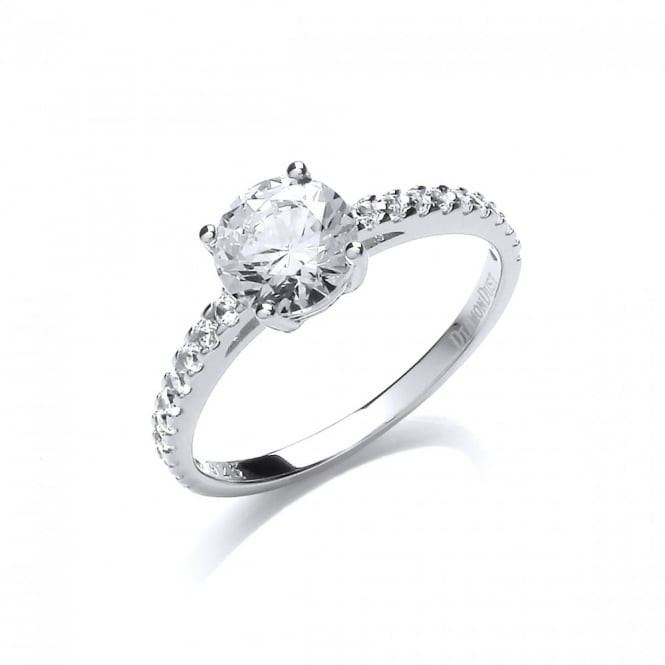 DiamonDust Jewellery Sterling Silver 7mm Solitaire Claw Set Ring Created with Swarovski® Zirconia