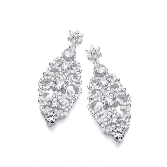 DiamonDust Jewellery Sterling Silver Antique Style Drop Earrings Created with Swarovski® Zirconia