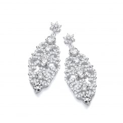 Sterling Silver Antique Style Drop Earrings Made with Swarovski® Zirconia