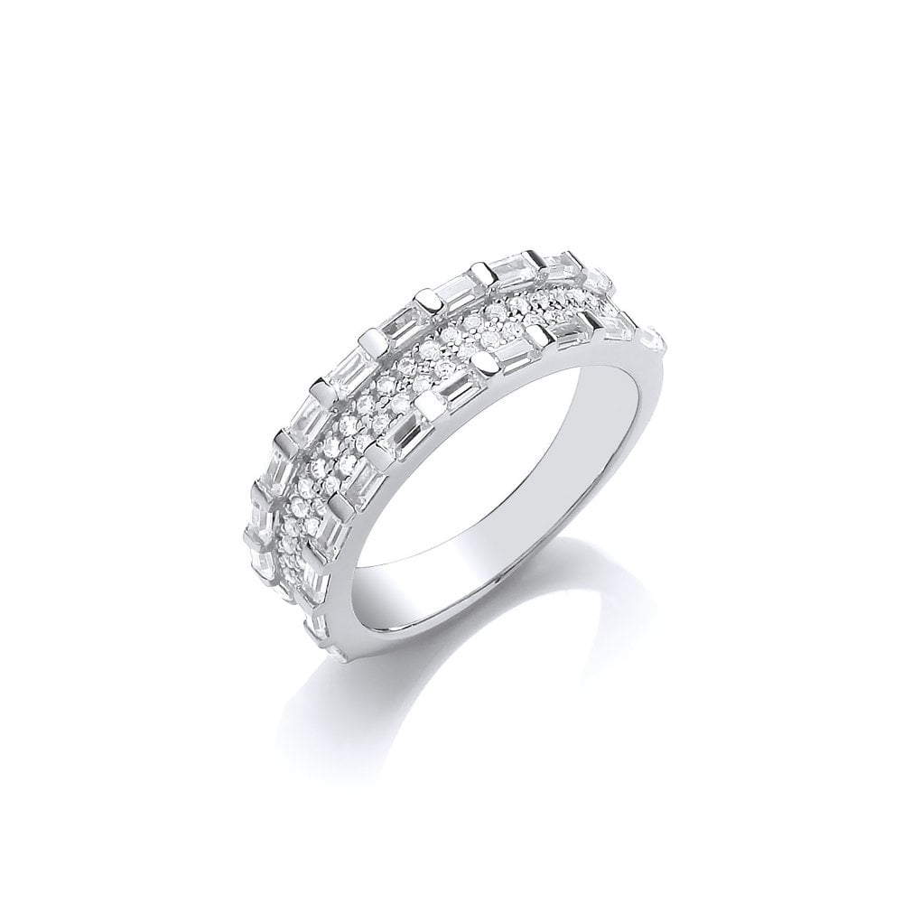 adc62e688f0d7 Sterling Silver Baguette Cut Half Eternity Ring Created with Swarovski  Zirconia