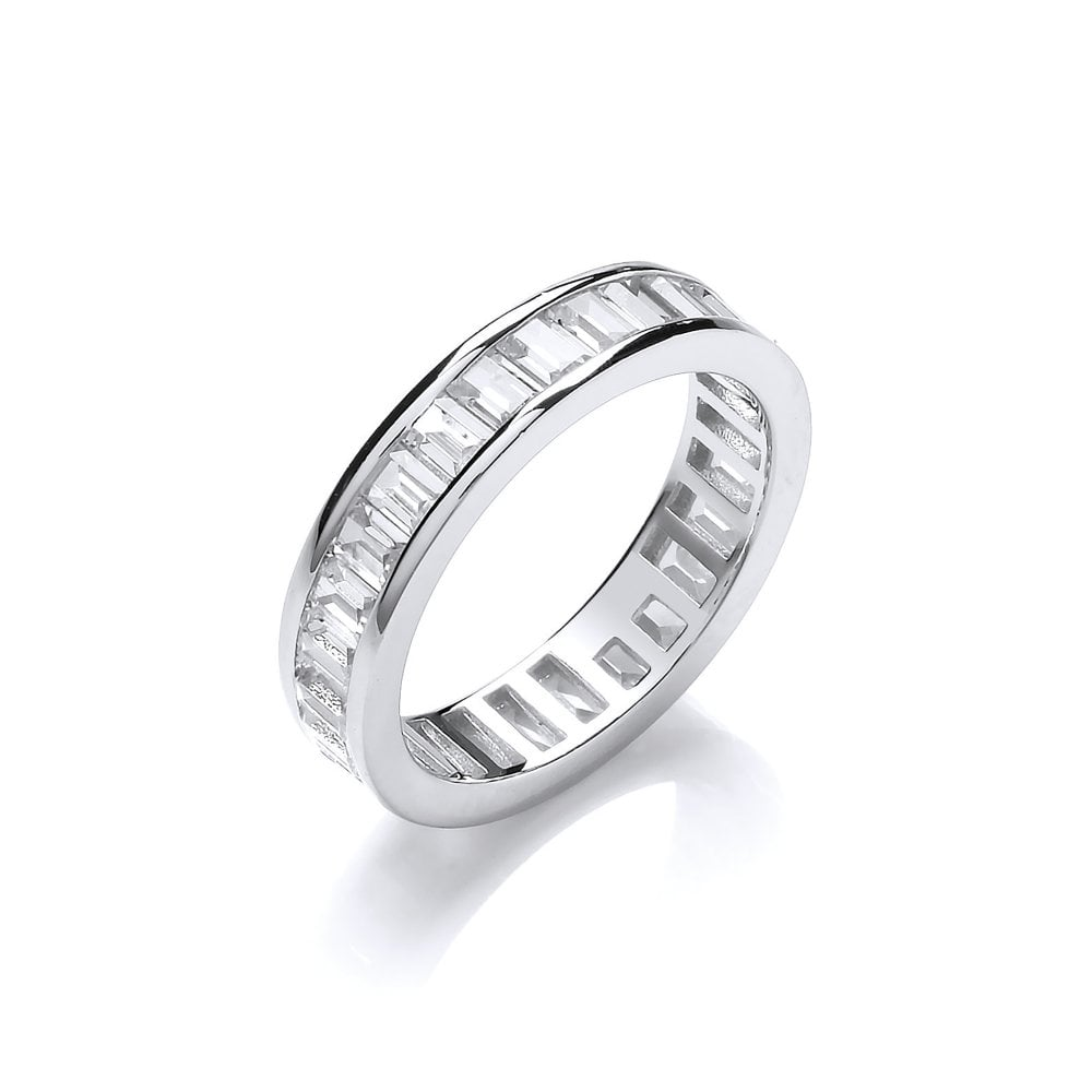 90ef07d11be0c Sterling Silver Baguette Full Eternity Ring Created with Swarovski Zirconia