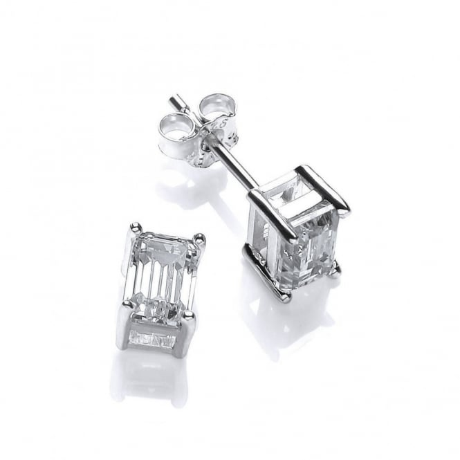 DiamonDust Jewellery Sterling Silver Baguette Solitaire Studs Made with Swarovski Zirconia