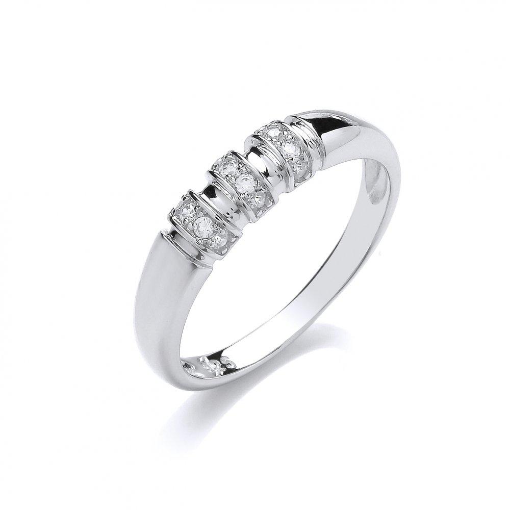swarovski zirconia sterling silver bar set ring by david