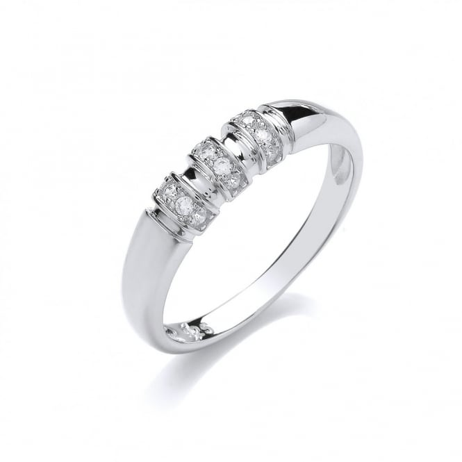 DiamonDust Jewellery Sterling Silver Bar Setting Ring Made with Swarovski Zirconia