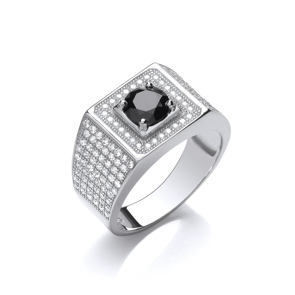 a452e95dc8ccb DiamonDust Jewellery Sterling Silver Black Chunky Pave Set Ring Created  With Swarovski Zirconia