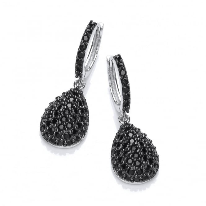 DiamonDust Jewellery Sterling Silver Black Hoop with Drop Earrings Made with Swarovski Zirconia