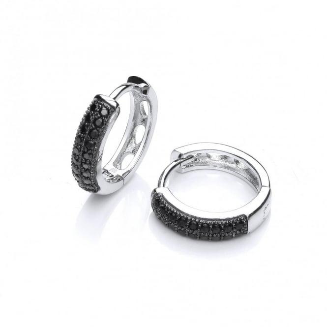 DiamonDust Jewellery Sterling Silver Black Round Hoop Earrings Made With Swarovski Zirconia