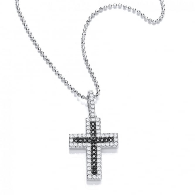 DiamonDust Jewellery Sterling Silver Black & White Cross Pendant & Chain Created with Swarovski® Zirconia