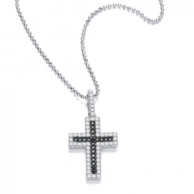 DiamonDust Jewellery Sterling Silver Black & White Cross Pendant & Chain Made with Swarovski® Zirconia