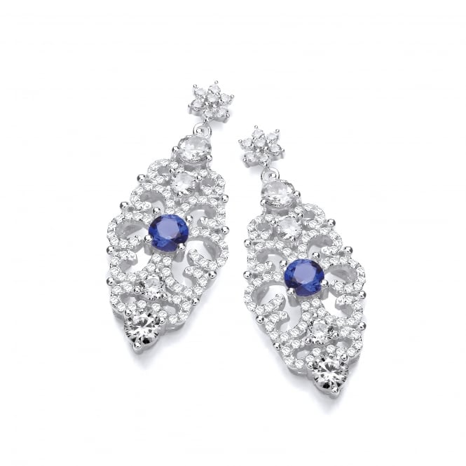 DiamonDust Jewellery Sterling Silver Blue Antique Style Drop Earrings Made with Swarovski® Zirconia