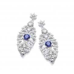 Sterling Silver Blue Antique Style Drop Earrings Made with Swarovski® Zirconia