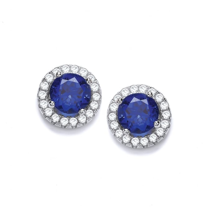 DiamonDust Jewellery Sterling Silver Blue Round Cluster Medium Earrings Made with Swarovski Zirconia
