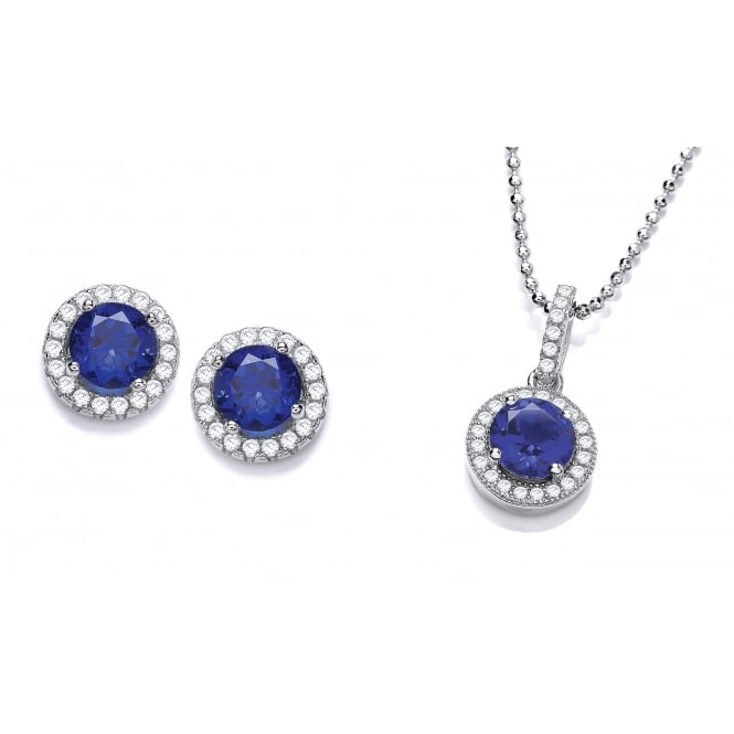 DiamonDust Jewellery Sterling Silver Blue Round Cluster Necklace & Earrings Set Made with Swarovski Zirconia