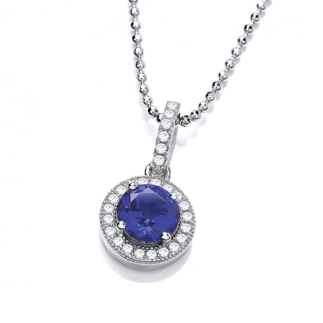 DiamonDust Jewellery Sterling Silver Blue Round Cluster Necklace Made with Swarovski Zirconia
