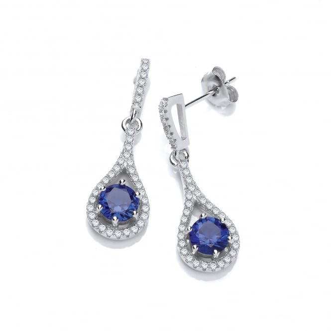 DiamonDust Jewellery Sterling Silver Blue Tear Drop Earrings On Studs Created with Swarovski® Zirconia