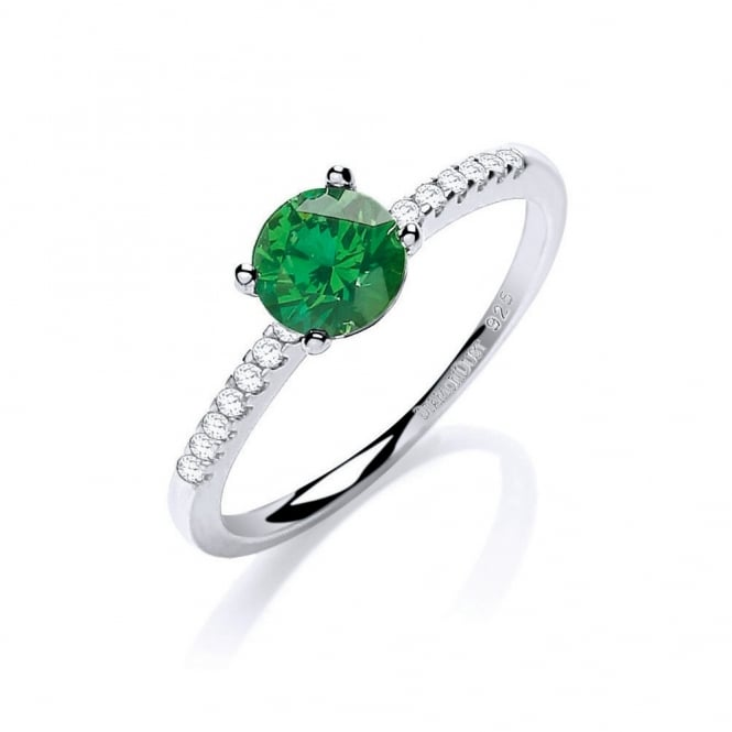 DiamonDust Jewellery Sterling Silver Centred Green & White Solitaire Ring Made with Swarovski Zirconia