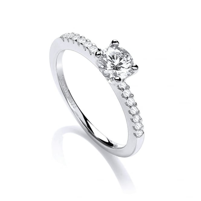 DiamonDust Jewellery Sterling Silver Centred White Solitaire Ring Made with Swarovski Zirconia
