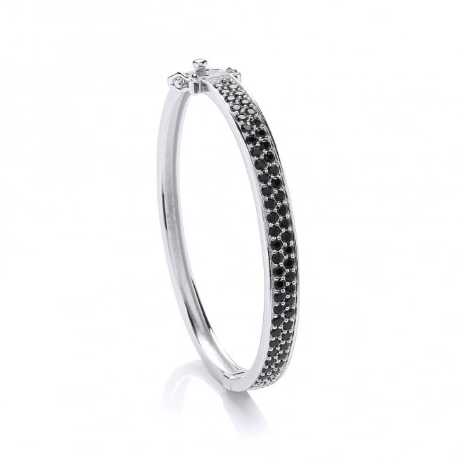 DiamonDust Jewellery Sterling Silver Children's Bangle Made With Black Swarovski Zirconia