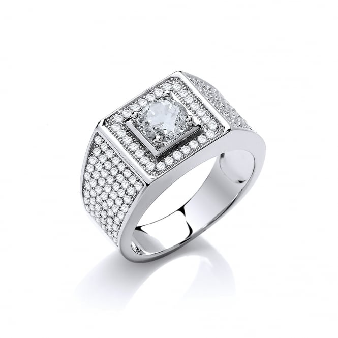 DiamonDust Jewellery Sterling Silver Chunky Pave Set Ring Made With Swarovski Zirconia