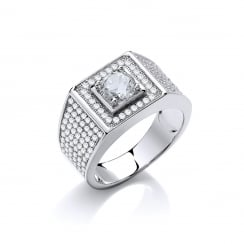 Sterling Silver Chunky Pave Set Ring Made With Swarovski Zirconia