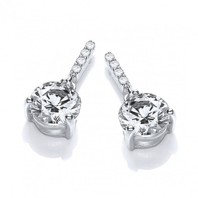 DiamonDust Jewellery Sterling Silver Classic Drop Solitaire Studs Created with Swarovski® Zirconia