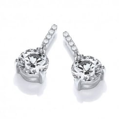 Sterling Silver Classic Drop Solitaire Studs Created with Swarovski® Zirconia