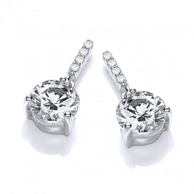 DiamonDust Jewellery Sterling Silver Classic Drop Solitaire Studs Made with Swarovski Zirconia