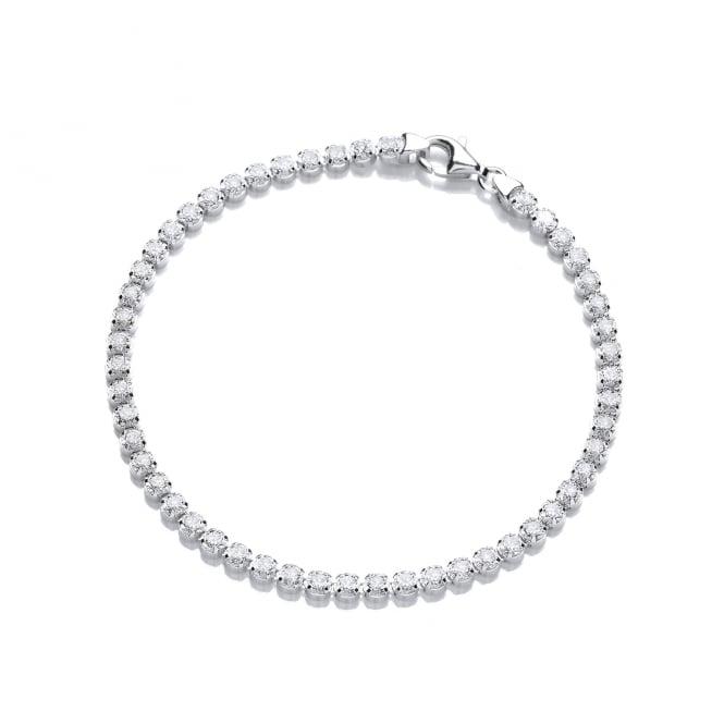 DiamonDust Jewellery Sterling Silver Classic Fine Tennis Bracelet Made with Swarovski Zirconia