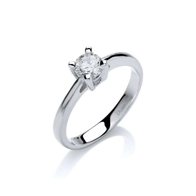 DiamonDust Jewellery Sterling Silver Classic Solitaire Claw Set Ring Made with Swarovski Zirconia