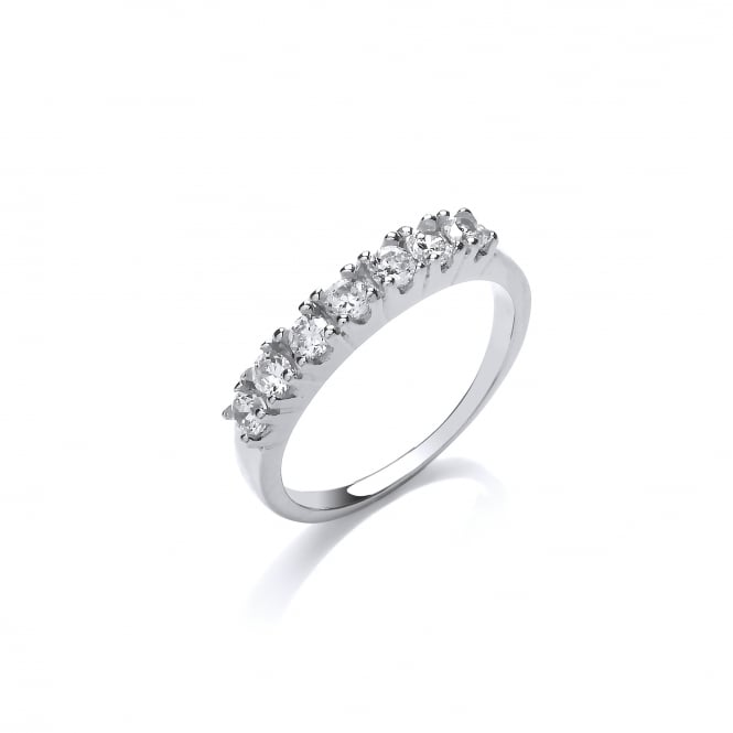 DiamonDust Jewellery Sterling Silver Claw Set Half Eternity Ring Made with Swarovski Zirconia