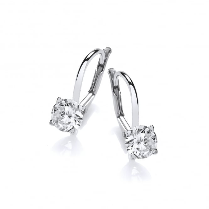 DiamonDust Jewellery Sterling Silver Claw Set Lever Back Earrings Made with Swarovski Zirconia