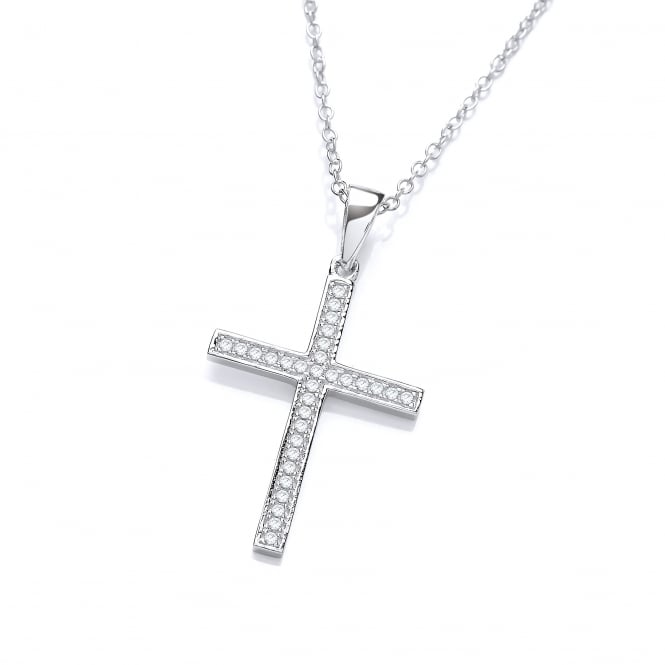 DiamonDust Jewellery Sterling Silver Cross Pendant and Chain Made with Swarovski Zirconia