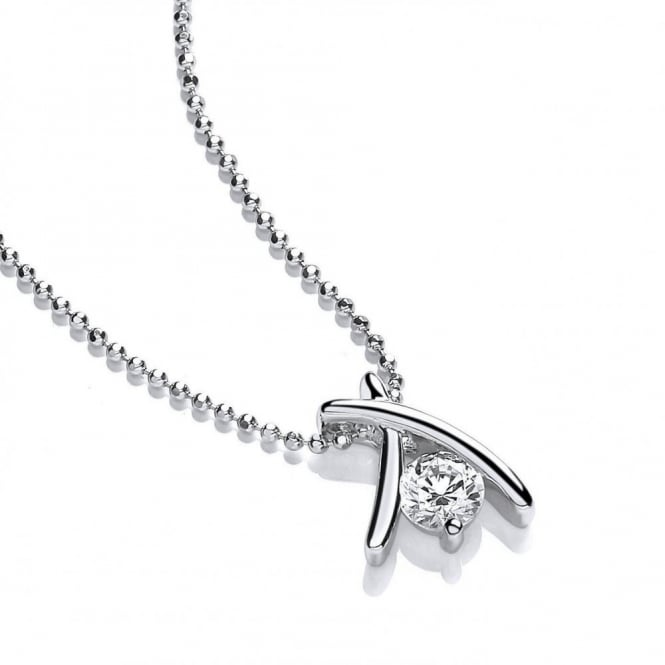 DiamonDust Jewellery Sterling Silver Crossover Pendant and Chain Made with Swarovski® Zirconia
