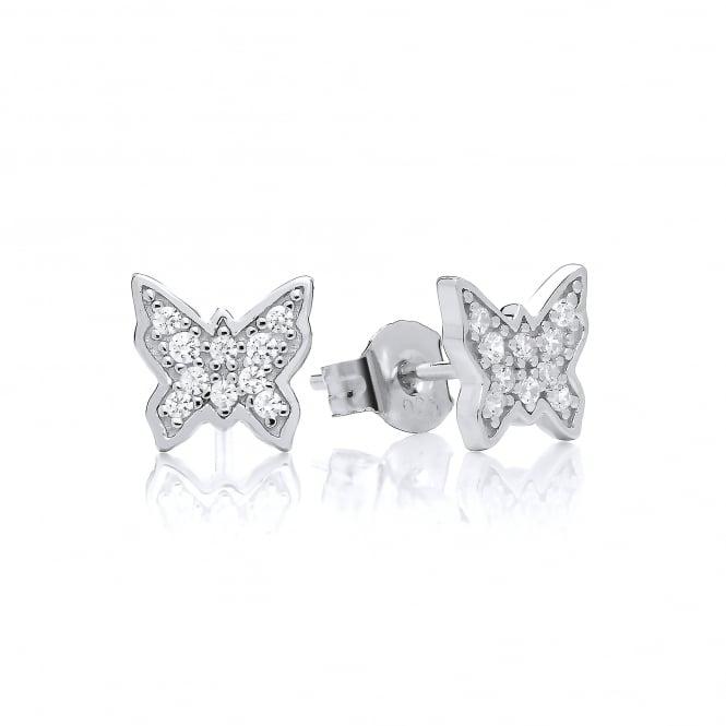 DiamonDust Jewellery Sterling Silver Dainty Butterfly Stud Earrings Created with Swarovski® Zirconia