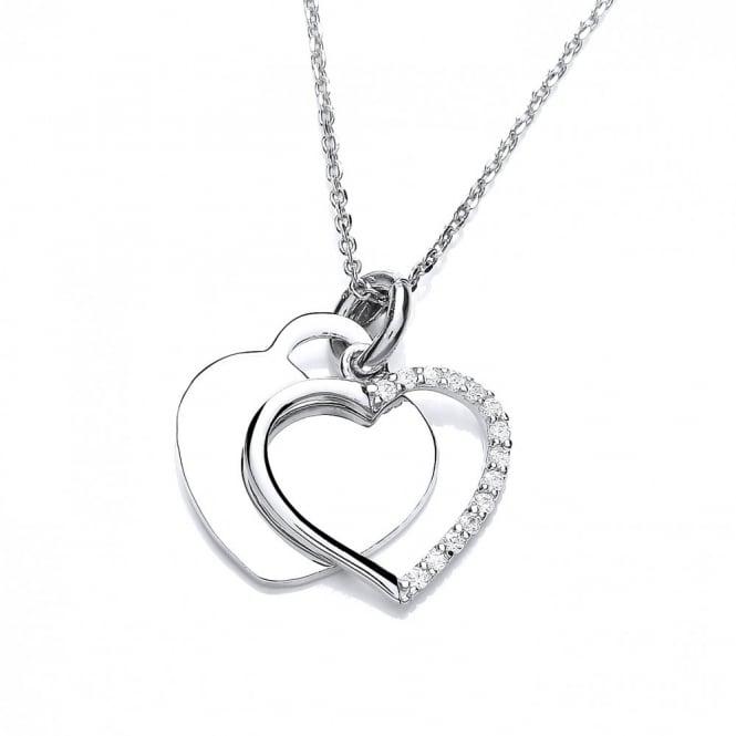 DiamonDust Jewellery Sterling Silver Double Heart Necklace Made With Swarovski Zirconia
