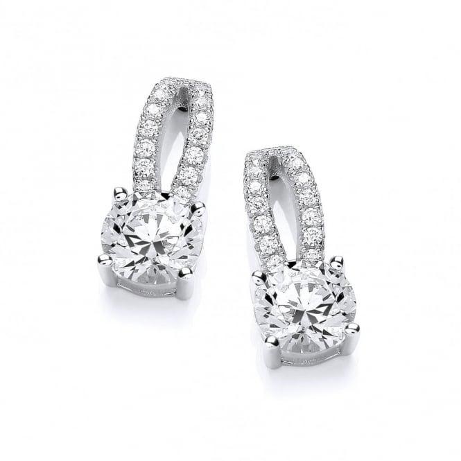 DiamonDust Jewellery Sterling Silver Double Line Solitaire Stud Earrings Created with Swarovski® Zirconia
