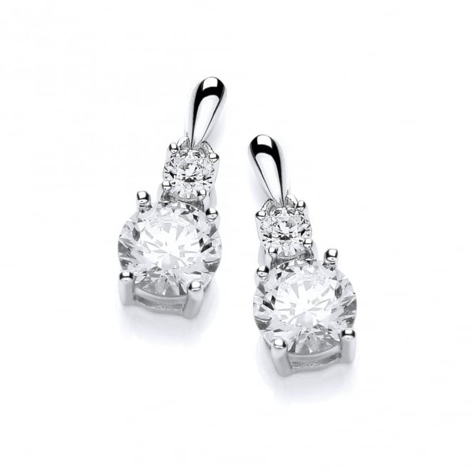 DiamonDust Jewellery Sterling Silver Double Stone Drop Earrings Made With Swarovski Zirconia