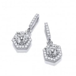 Sterling Silver Drop Hexagon Style Earrings Made with Swarovski Zirconia
