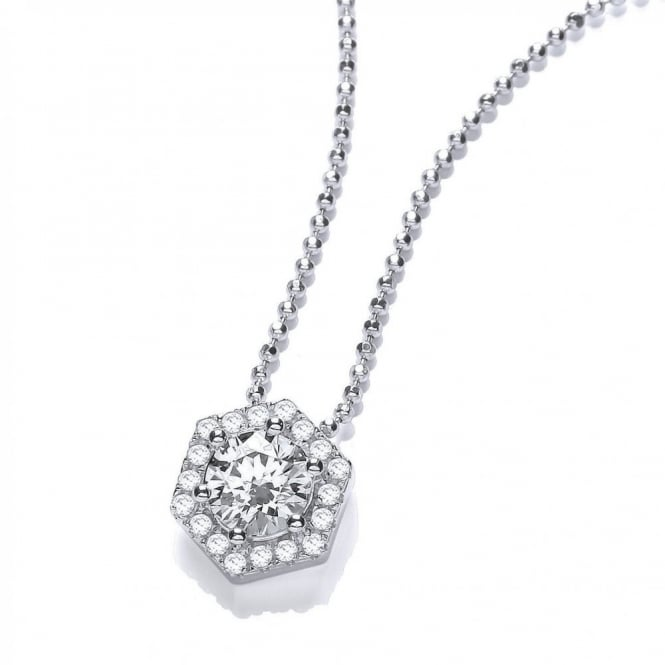 DiamonDust Jewellery Sterling Silver Drop Hexagon Style Pendant & Chain Made with Swarovski Zirconia