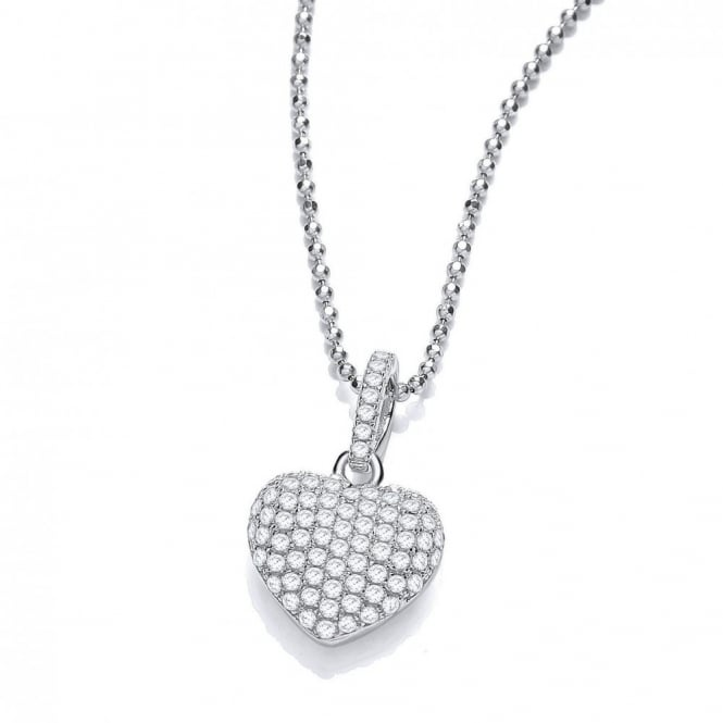 DiamonDust Jewellery Sterling Silver Elegant Heart Pave Setting Pendant & Chain Made with Swarovski Zirconia