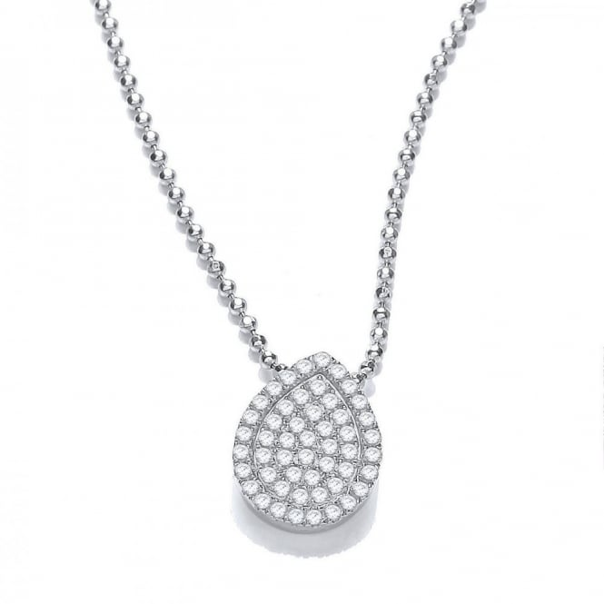 DiamonDust Jewellery Sterling Silver Elegant Tear Shape Pave Set Necklace Made with Swarovski Zirconia