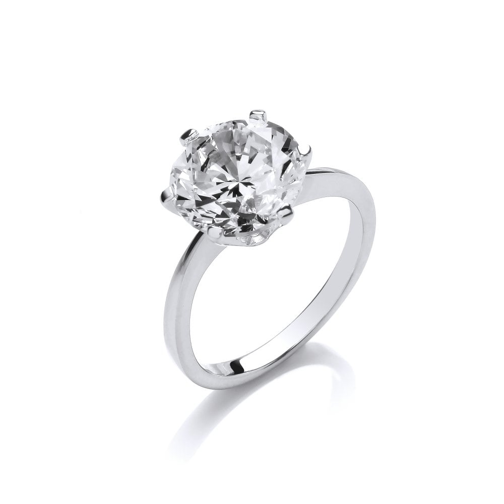9fa357b22 Sterling Silver Eye-Catching Claw Set Solitaire Ring Created with Swarovski  Zirconia