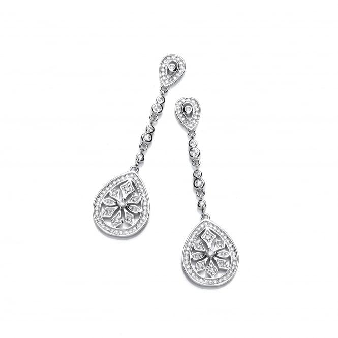 DiamonDust Jewellery Sterling Silver Fancy Long Drop Earrings Created with Swarovski® Zirconia