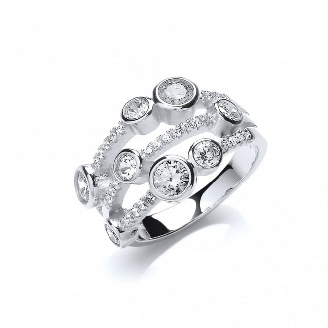 DiamonDust Jewellery Sterling Silver Fancy Multi Stone Ring Created with Swarovski® Zirconia