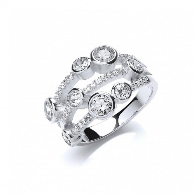 DiamonDust Jewellery Sterling Silver Fancy Multi Stone Ring Made with Swarovski Zirconia