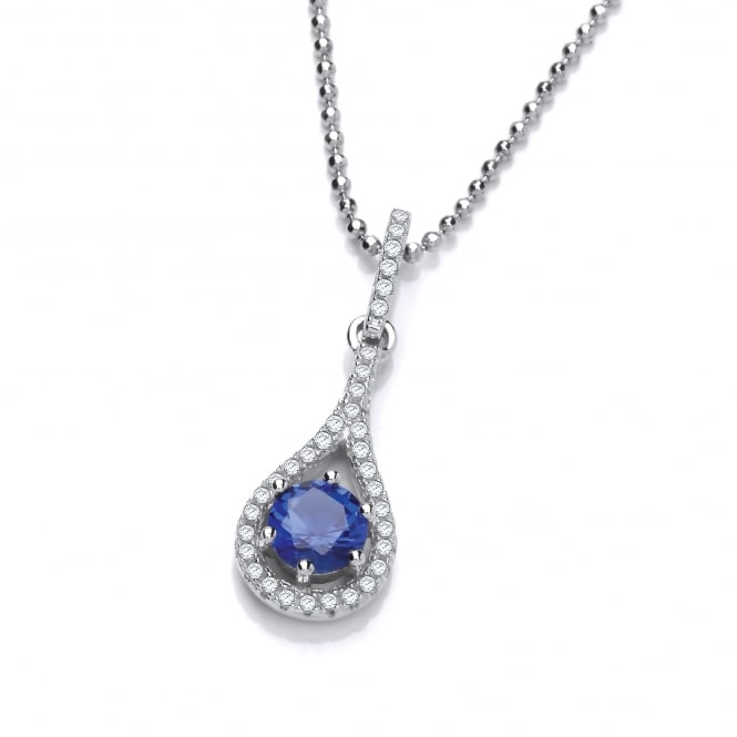 DiamonDust Jewellery Sterling Silver Fine Blue Tear Drop Necklace Made With Swarovski Zirconia